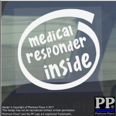 1 x Medical Responder Inside-Window,Car,Van,Sticker,Sign,Vehicle,Adhesive,Aid
